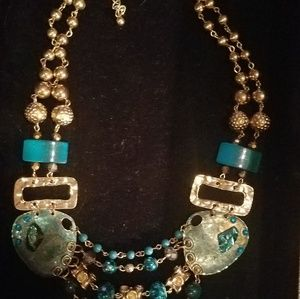 Turquoise and hammered gold necklace
